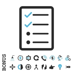 Checklist page flat icon with bonus vector