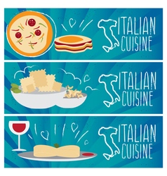 Set of banners for theme italian cuisine with vector