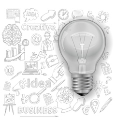Creative background with lightbulb vector