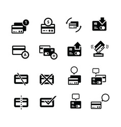 Credit card with bubble and arrow icons vector