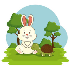Cute adorable bunny turtle animal cartoon vector