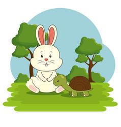 cute adorable bunny turtle animal cartoon vector image vector image