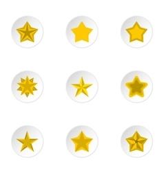 Geometric figure star icons set flat style vector