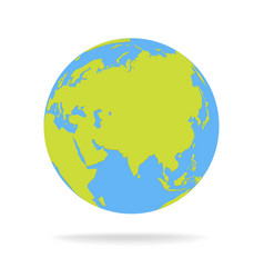 Green and blue cartoon world map globe vector