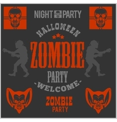 Halloween party poster with zombie head - vector