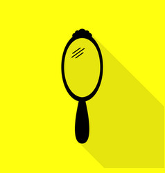 Hand mirror sign black icon with flat style vector