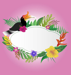 Hornbill and floral with copy space background vector