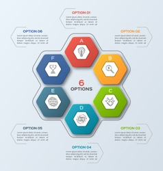 infographic template with hexagons 6 options vector image vector image