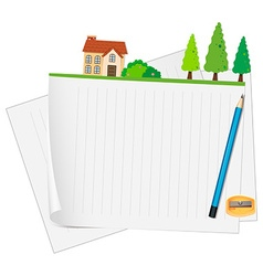 Line paper design with house and pencil vector