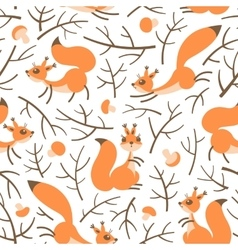 Little cute squirrels in the fall forest Seamless vector image vector image