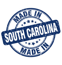 Made in south carolina blue grunge round stamp vector