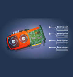 micro processor computer chip motherboard system vector image