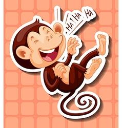 Monkey laughing on orange background vector