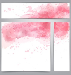 Pink watercolor abstract banners vector image