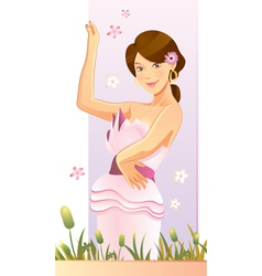 pretty flower girl vector image vector image