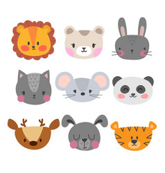 set of cute hand drawn smiling animals cat lion vector image