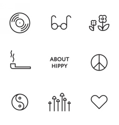 Set of flat line hippy icons Modern pictograms vector image