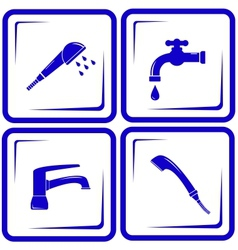 set water supply faucet mixer tap valve icon vector image