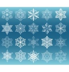 Snowflake white set vector