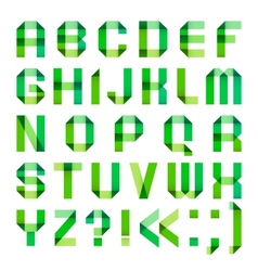 Spectral letters folded of paper ribbon-green vector image