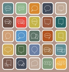 Speech bubble line flat icons on brown background vector