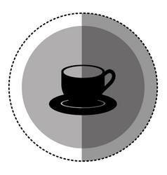 sticker monochrome circular emblem with coffee cup vector image vector image