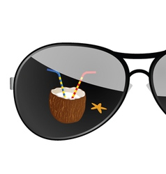 sunglass with coconut art vector image vector image