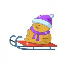 teddy bear on sledge vector image vector image