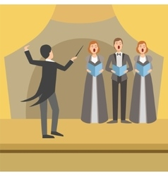 Three Person Choir And Operator Wearing Tails vector image vector image