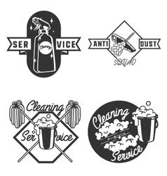 Vintage cleaning service emblems vector image