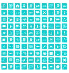 100 plan icons set grunge blue vector