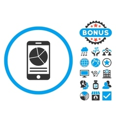 Mobile report flat icon with bonus vector