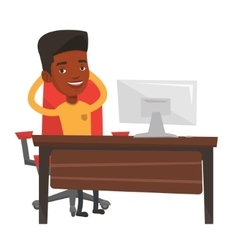 Business man relaxing in office vector