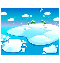 Water and snow landscape vector image