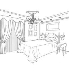 Bedroom furniture doodle line sketch of home vector