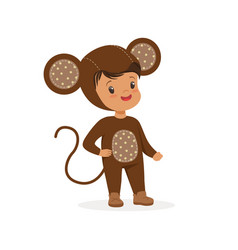Cute happy boy dressed as a monkey kids carnival vector