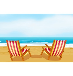 Chairs on beach vector
