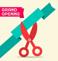 Grand Opening Retro Flat Design with Scissor vector image