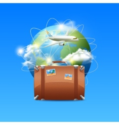 Plane with globe and suitcase vector
