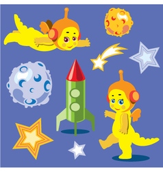 Animation astronauts dragons vector image