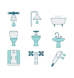 Line style icons of sanitary elements vector