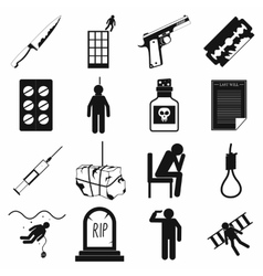 Suicide icons set simple style vector