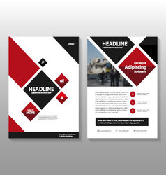 Red black square annual report leaflet brochure vector