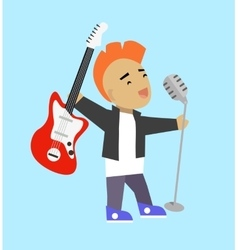 Singer guitarist with microphone and guitar vector