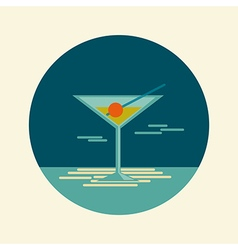 Cocktail icon summer beach sea vector