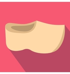 Wooden shoes icon flat style vector