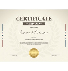 Certificate achievement brown laurel wreath vector