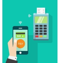 Mobile phone connected to wireless pos terminal vector