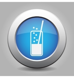 Blue metal button - glass with drink and straw vector