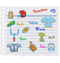 american football graphic doodle on scrap paper vector image vector image